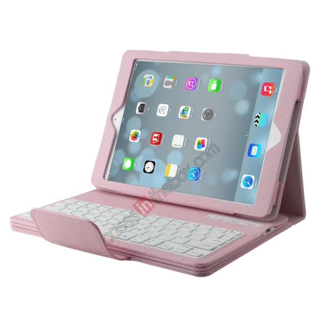 wholesale Detachable Bluetooth Wireless Keyboard Leather Case With stand for iPad air 2 - Pink