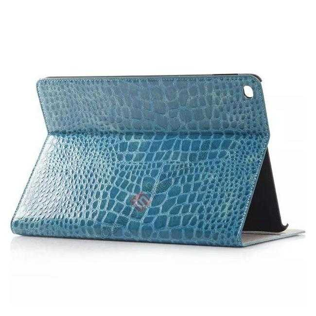 wholesale High quality Crocodile Skin Leather Stand Case for iPad Air 2 - Blue