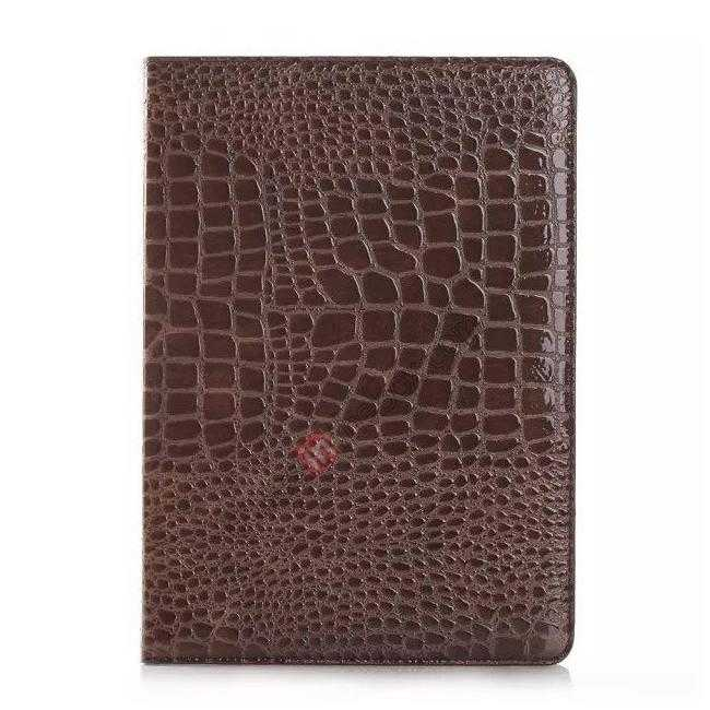 discount High quality Crocodile Skin Leather Stand Case for iPad Air 2 - Brown