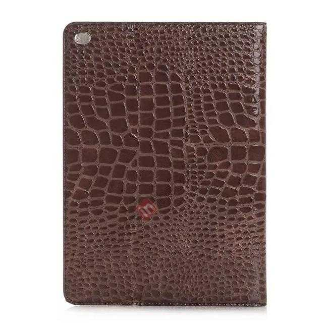 cheap High quality Crocodile Skin Leather Stand Case for iPad Air 2 - Brown
