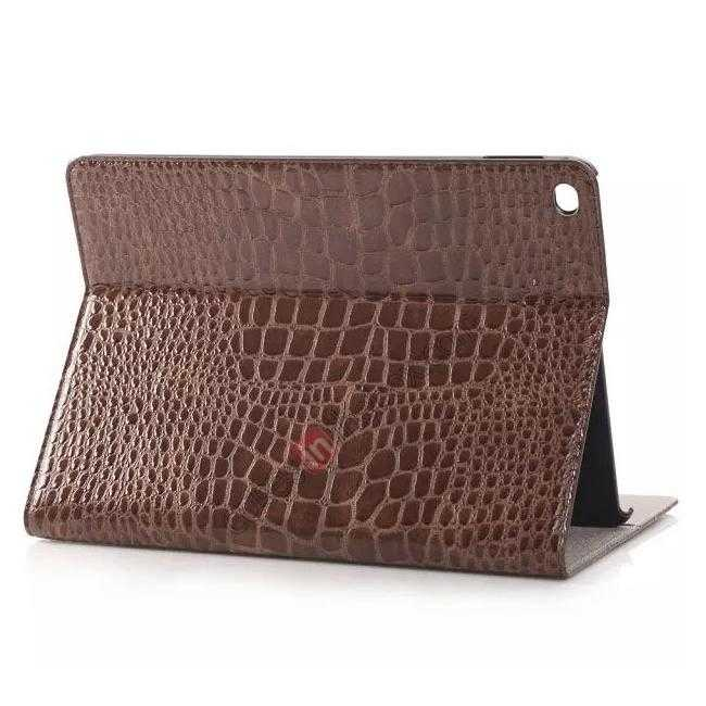 wholesale High quality Crocodile Skin Leather Stand Case for iPad Air 2 - Brown