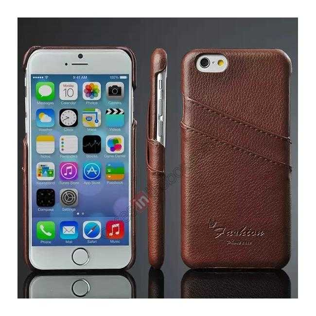 wholesale Litchi Genuine Leather Card Holder Hard Back Case Cover for iPhone 6/6S 4.7 Inch - Brown