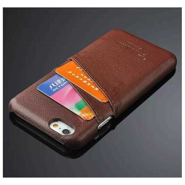 cheap Litchi Genuine Leather Card Holder Hard Back Case Cover for iPhone 6/6S 4.7 Inch - Brown