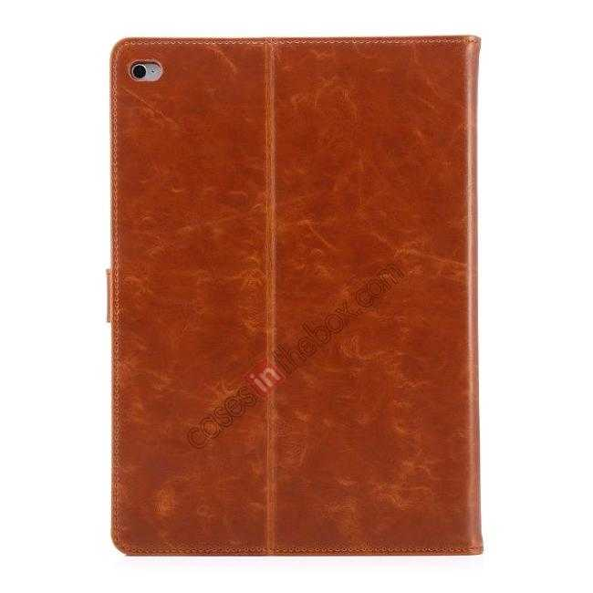 best price Luxury Vintage Series Leather Stand Case for iPad Air 2 with Sleep/Wake-up Function - Brown