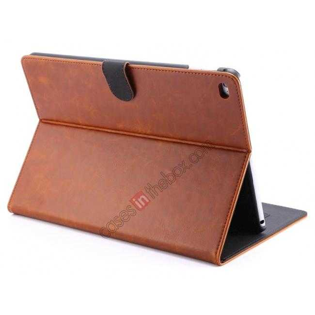 wholesale Luxury Vintage Series Leather Stand Case for iPad Air 2 with Sleep/Wake-up Function - Brown
