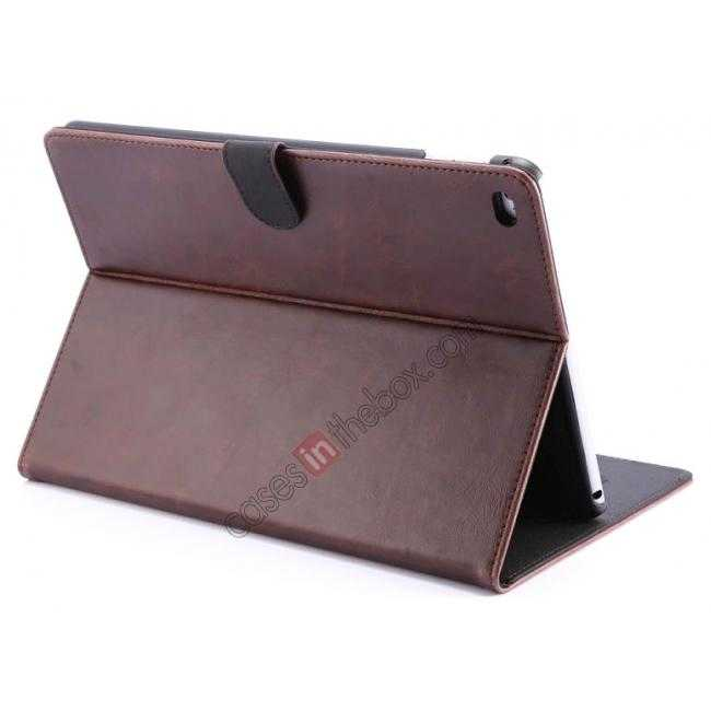 wholesale Luxury Vintage Series Leather Stand Case for iPad Air 2 with Sleep/Wake-up Function - Coffee