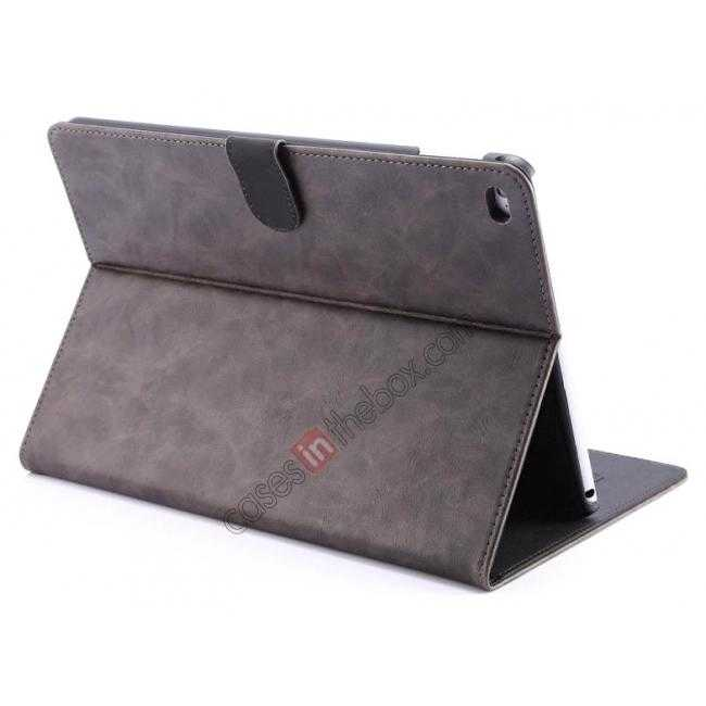 wholesale Luxury Vintage Series Leather Stand Case for iPad Air 2 with Sleep/Wake-up Function - Grey