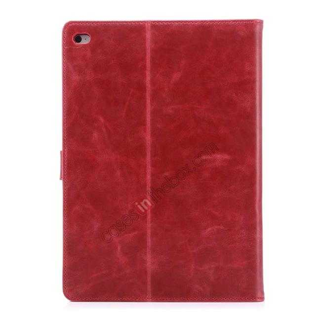 best price Luxury Vintage Series Leather Stand Case for iPad Air 2 with Sleep/Wake-up Function - Red