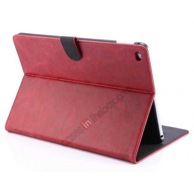 wholesale Luxury Vintage Series Leather Stand Case for iPad Air 2 with Sleep/Wake-up Function - Red