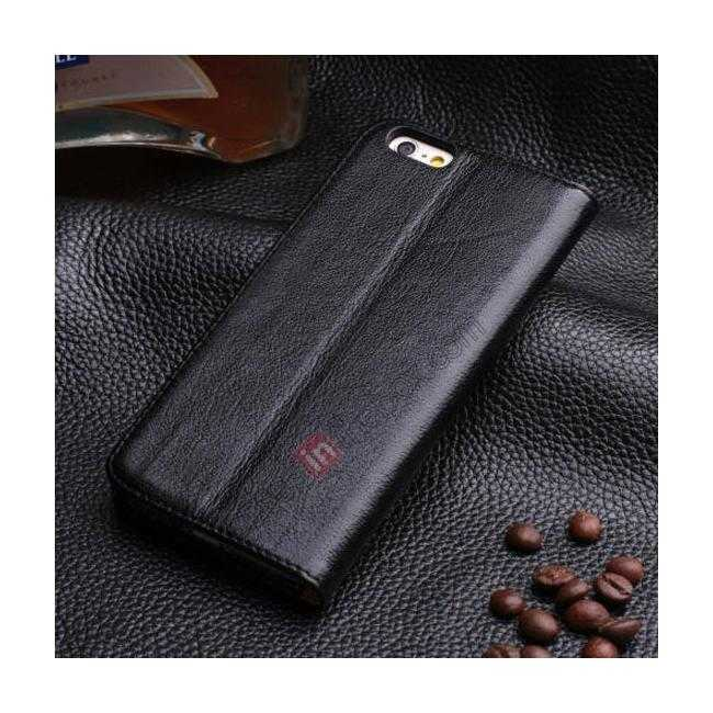 discount Luxury Genuine Real Leather Flip Wallet Case Cover For iPhone 6/6S 4.7 inch - Black