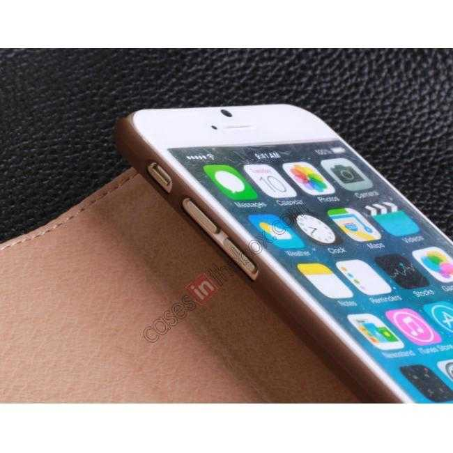 low price Luxury Genuine Real Leather Flip Wallet Case Cover For iPhone 6/6S 4.7 inch - Dark Blue