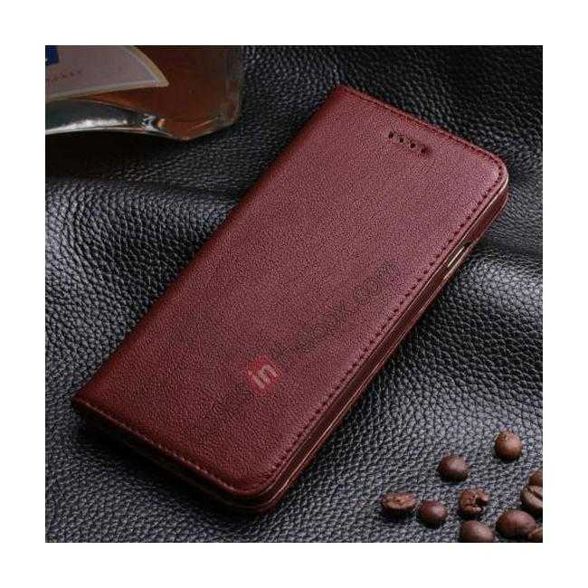 wholesale Luxury Genuine Real Leather Flip Wallet Case Cover For iPhone 6/6S 4.7 inch - Wine Red