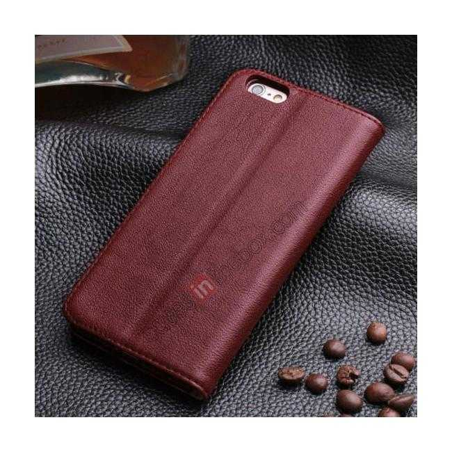 discount Luxury Genuine Real Leather Flip Wallet Case Cover For iPhone 6/6S 4.7 inch - Wine Red