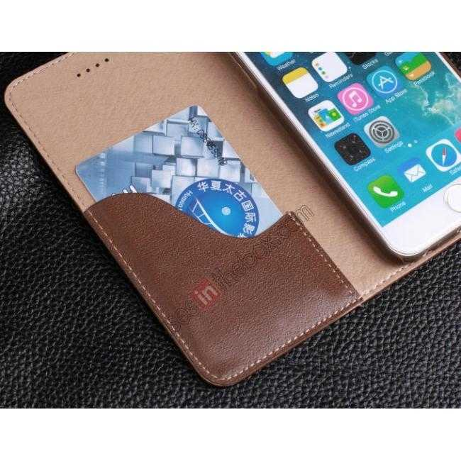 on sale Luxury Genuine Real Leather Flip Wallet Case Cover For iPhone 6/6S 4.7 inch - Wine Red