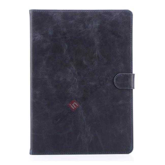top quality Luxury Vintage Series Leather Stand Case for iPad Air 2 with Sleep/Wake-up Function - Dark blue
