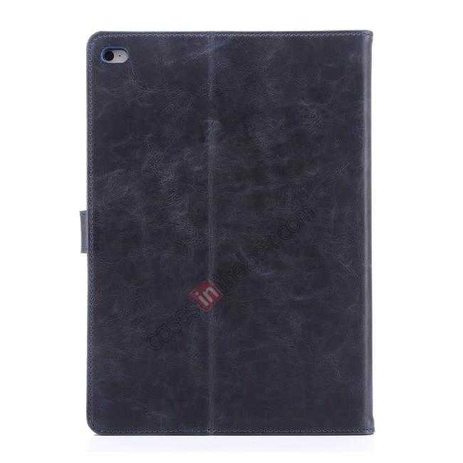 best price Luxury Vintage Series Leather Stand Case for iPad Air 2 with Sleep/Wake-up Function - Dark blue