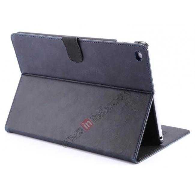 wholesale Luxury Vintage Series Leather Stand Case for iPad Air 2 with Sleep/Wake-up Function - Dark blue