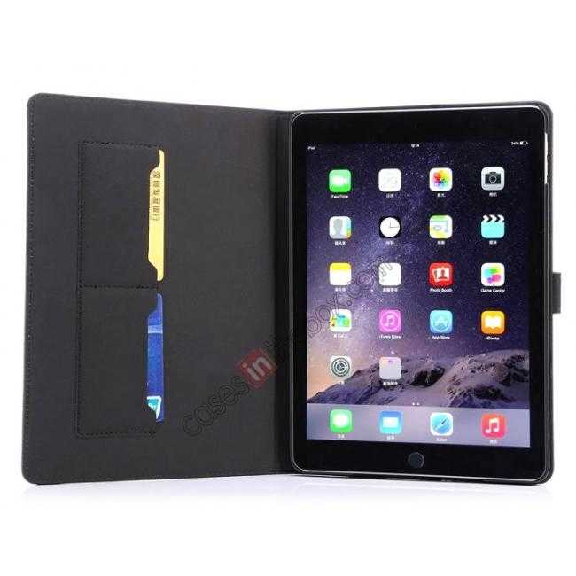 cheap Luxury Vintage Series Leather Stand Case for iPad Air 2 with Sleep/Wake-up Function - Dark blue