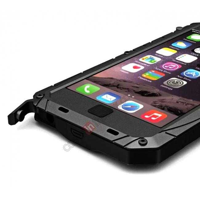 top quality Luxury Waterproof Shockproof Aluminum Gorilla Glass Metal Cover Case for iPhone 6 Plus/6S Plus 5.5inch - Black