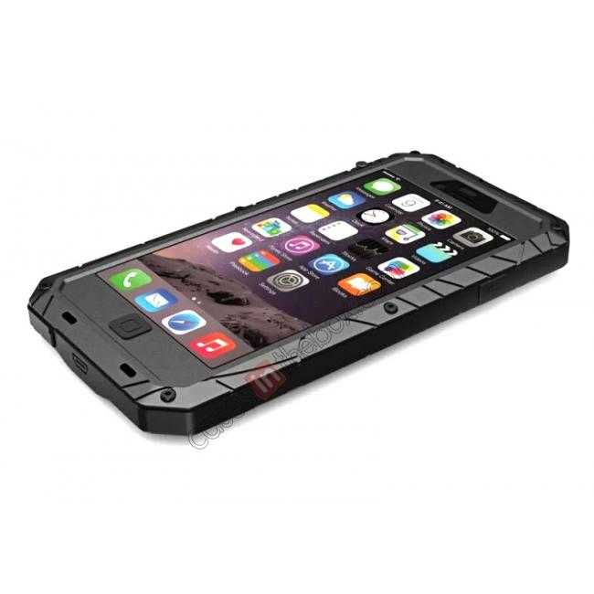 discount Luxury Waterproof Shockproof Aluminum Gorilla Glass Metal Cover Case for iPhone 6 Plus/6S Plus 5.5inch - Black