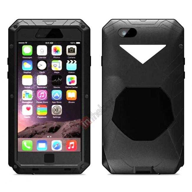 wholesale Luxury Waterproof Shockproof Aluminum Gorilla Glass Metal Cover Case for iPhone 6 Plus/6S Plus 5.5inch - Black