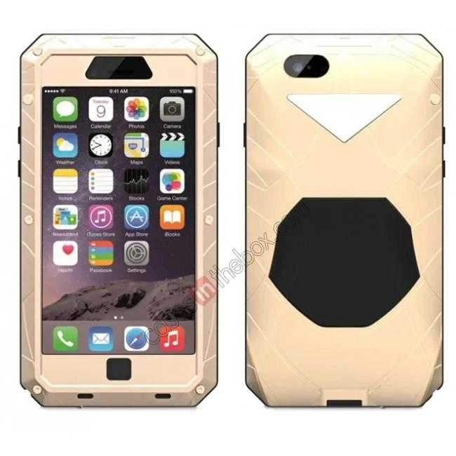 wholesale Luxury Waterproof Shockproof Aluminum Gorilla Glass Metal Cover Case for iPhone 6 Plus/6S Plus 5.5inch - Champagne