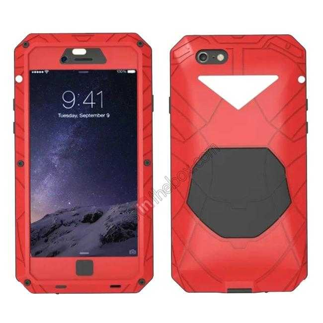 wholesale Luxury Waterproof Shockproof Aluminum Gorilla Glass Metal Cover Case for iPhone 6 Plus/6S Plus 5.5inch - Red