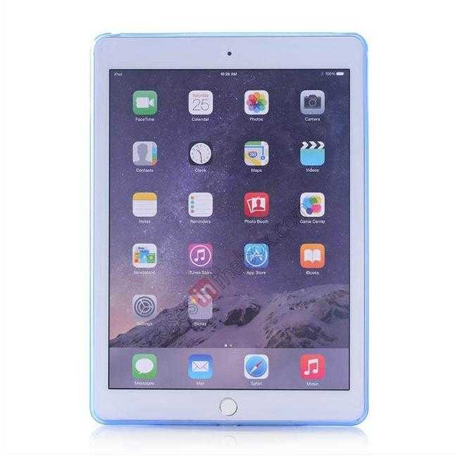 discount High Quality Matte Frosted Soft Tpu Gel Case Back Cover for iPad Air 2 - Blue