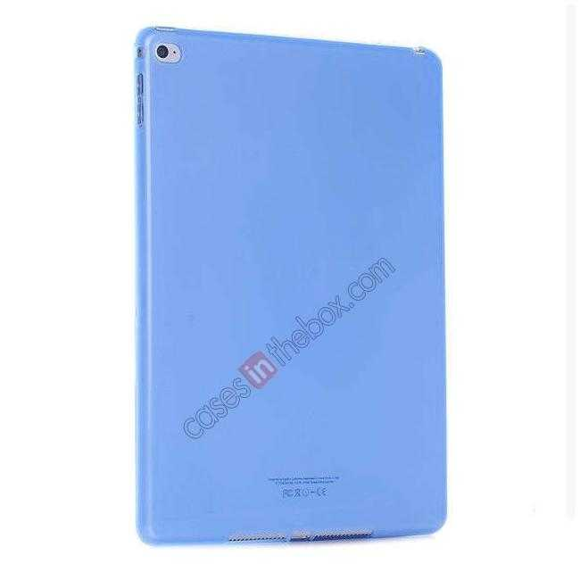 cheap High Quality Matte Frosted Soft Tpu Gel Case Back Cover for iPad Air 2 - Blue