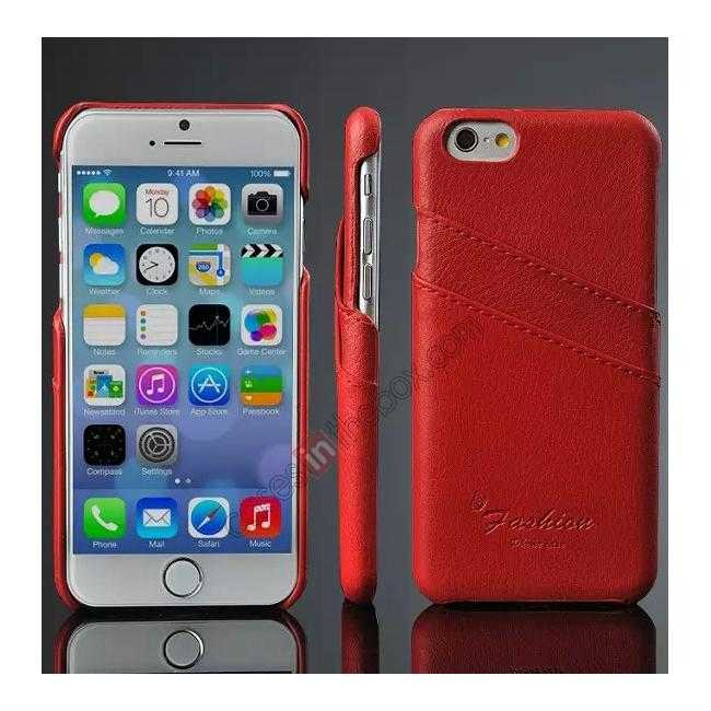 wholesale Litchi Genuine Leather Card Holder Hard Back Case Cover for iPhone 6 Plus/6S Plus 5.5 Inch - Red