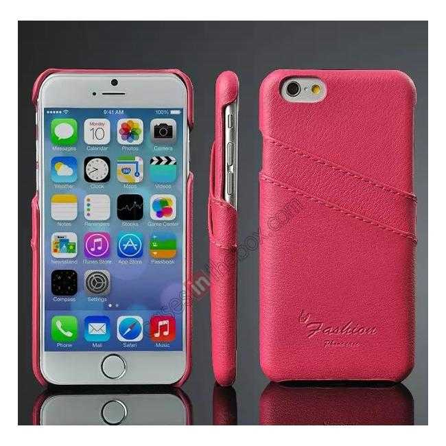 wholesale Litchi Genuine Leather Card Holder Hard Back Case Cover for iPhone 6 Plus/6S Plus 5.5 Inch - Rose