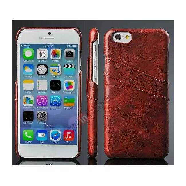 wholesale Oil Wax Leather Credit Card Holder Back Shell Case Cover for iPhone 6 Plus/6S Plus 5.5 Inch - Brown