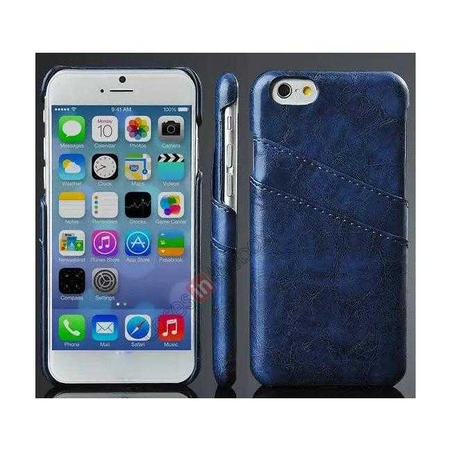 wholesale Oil Wax Leather Credit Card Holder Back Shell Case Cover for iPhone 6 Plus/6S Plus 5.5 Inch - Dark Blue