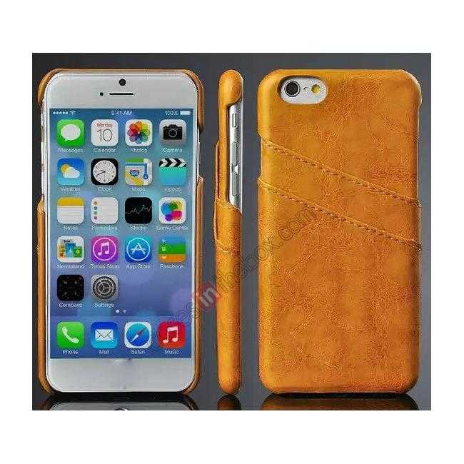 wholesale Oil Wax Leather Credit Card Holder Back Shell Case Cover for iPhone 6 Plus/6S Plus 5.5 Inch - Orange