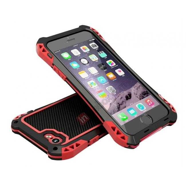 discount Shockproof Aluminum metal Cover Case With Tempered Glass Screen For iPhone 6S 4.7inch - Black/Red