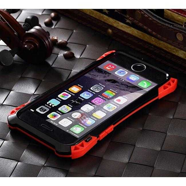 low price Shockproof Aluminum metal Cover Case With Tempered Glass Screen For iPhone 6S 4.7inch - Black/Red