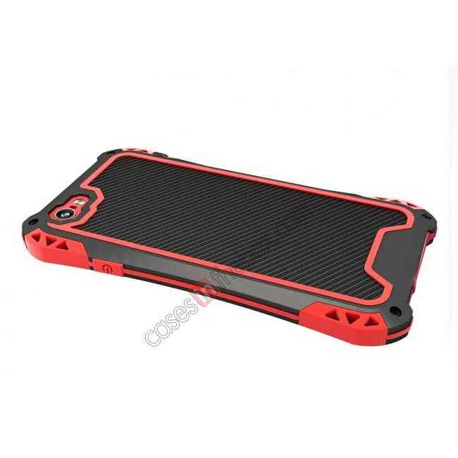 top quality Shockproof Aluminum metal Cover Case With Tempered Glass Screen For iPhone 6S 4.7inch - Black/Red