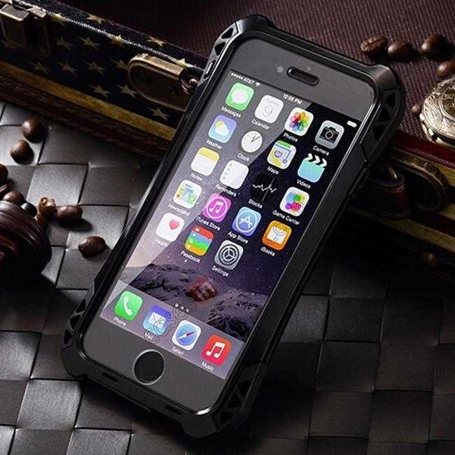 discount Shockproof Aluminum metal Cover Case With Tempered Glass Screen For iPhone 6S 4.7inch - Black
