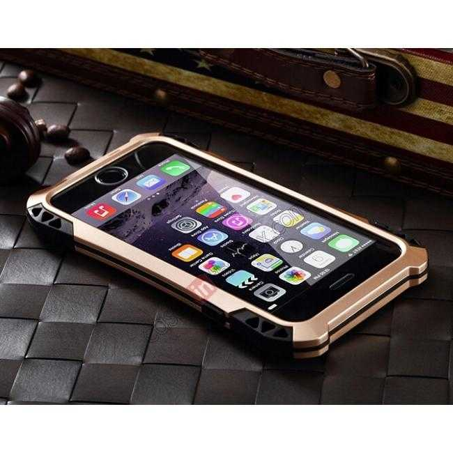 cheap Shockproof Aluminum metal Cover Case With Tempered Glass Screen For iPhone 6S 4.7inch - Champagne/Black