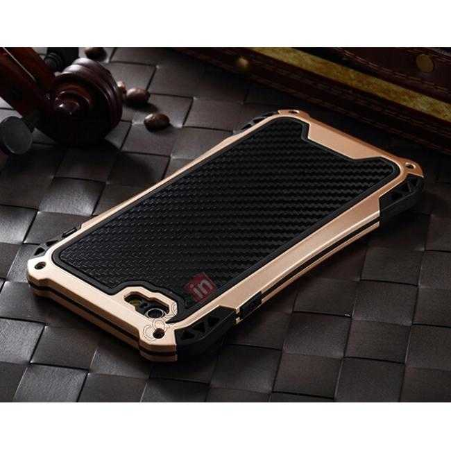 top quality Shockproof Aluminum metal Cover Case With Tempered Glass Screen For iPhone 6S 4.7inch - Champagne/Black