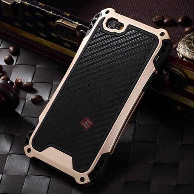 wholesale Shockproof Aluminum metal Cover Case With Tempered Glass Screen For iPhone 6S 4.7inch - Champagne/Black