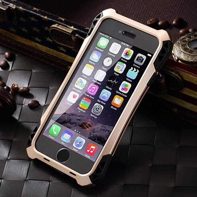 discount Shockproof Aluminum metal Cover Case With Tempered Glass Screen For iPhone 6S 4.7inch - Champagne/Black