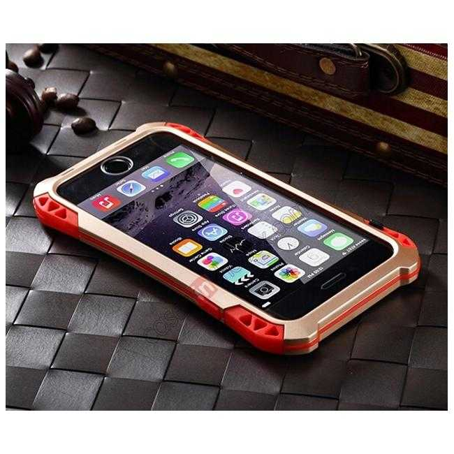 cheap Shockproof Aluminum metal Cover Case With Tempered Glass Screen For iPhone 6S 4.7inch - Champagne/Red