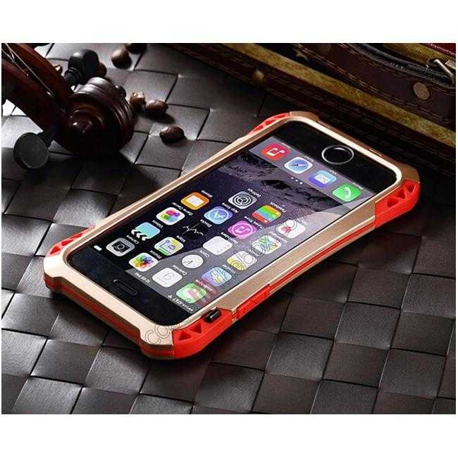 top quality Shockproof Aluminum metal Cover Case With Tempered Glass Screen For iPhone 6S 4.7inch - Champagne/Red
