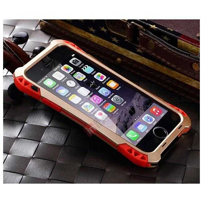 best price Shockproof Aluminum metal Cover Case With Tempered Glass Screen For iPhone 6S 4.7inch - Champagne/Red