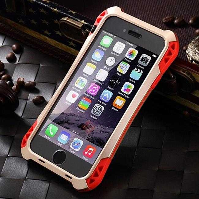 discount Shockproof Aluminum metal Cover Case With Tempered Glass Screen For iPhone 6S 4.7inch - Champagne/Red