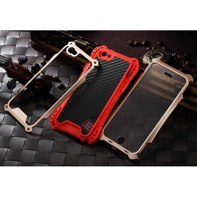 low price Shockproof Aluminum metal Cover Case With Tempered Glass Screen For iPhone 6S 4.7inch - Champagne/Red