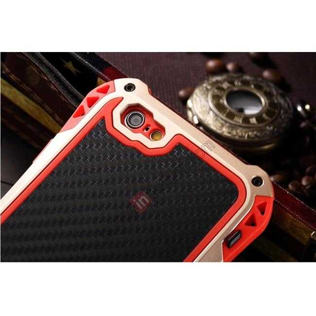 high quanlity Shockproof Aluminum metal Cover Case With Tempered Glass Screen For iPhone 6S 4.7inch - Champagne/Red