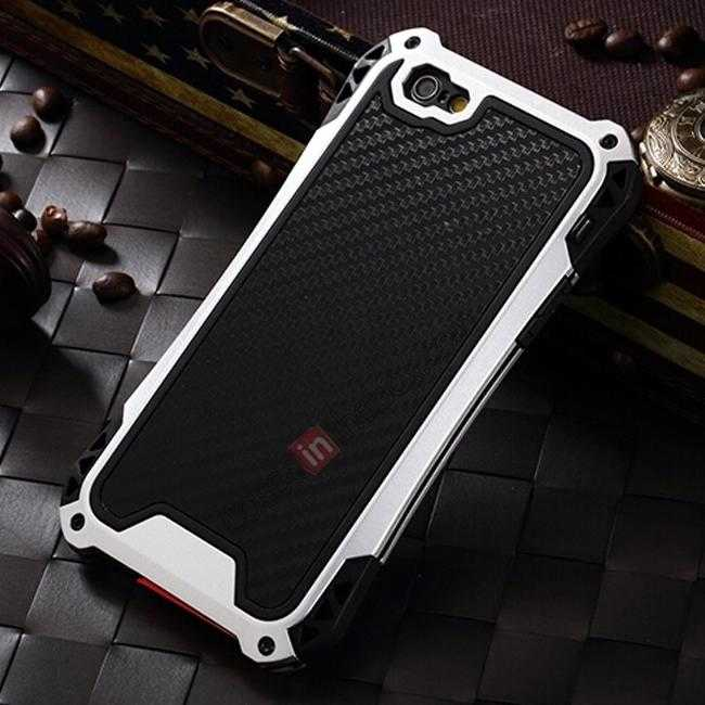 wholesale Shockproof Aluminum metal Cover Case With Tempered Glass Screen For iPhone 6S 4.7inch - Silver/Black