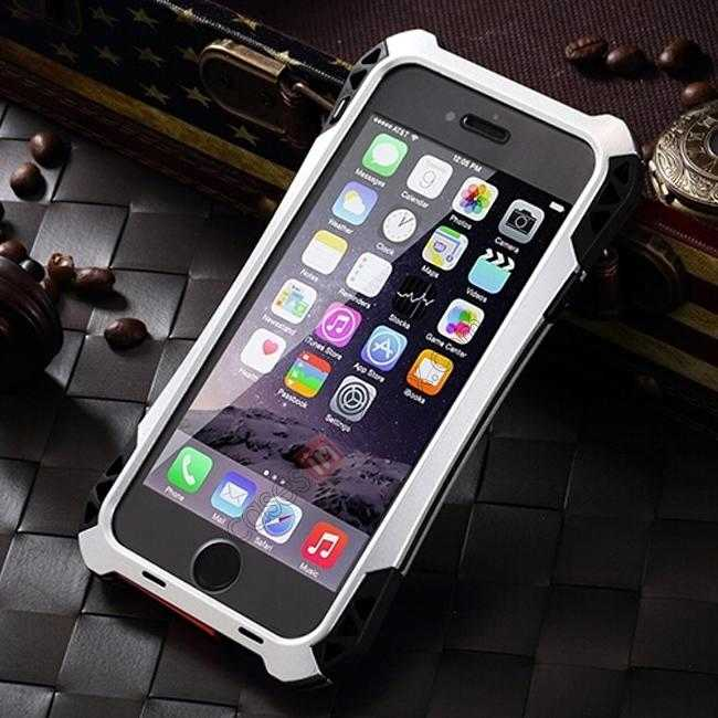 discount Shockproof Aluminum metal Cover Case With Tempered Glass Screen For iPhone 6S 4.7inch - Silver/Black